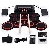 Kit tamburo avvolgibile Set batteria elettronica portatile con pedali batteria ricaricabile Bacchette integrate Altoparlanti