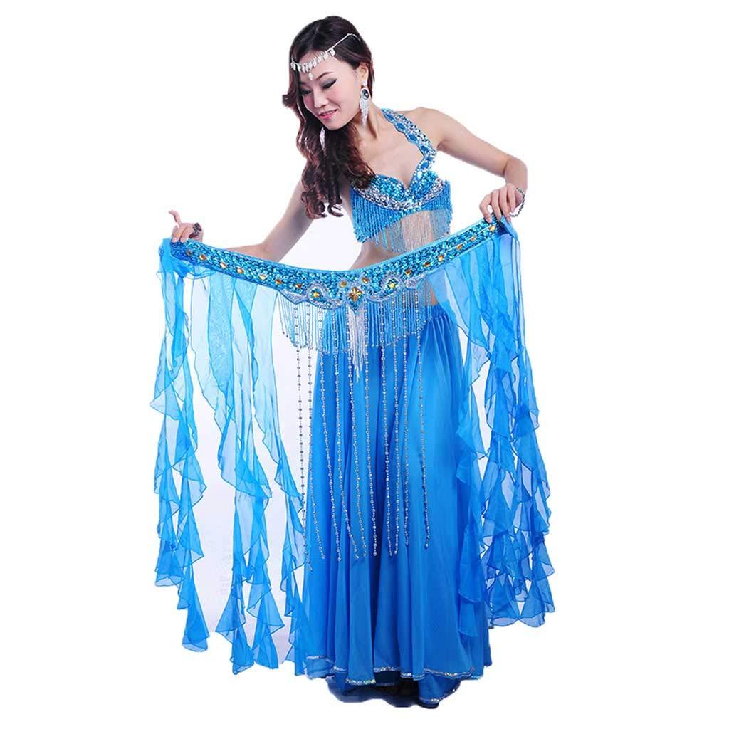 成人女性のベリーダンスの衣装、ビーズのブラのドレス B07J43HB2G M|Lake blue Lake blue M