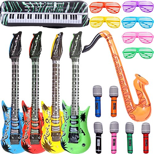 Price comparison product image Inflatable Rock Star Toy Set - 18 Pack Inflatable Party Props - 4 Inflatable Guitar, 6 Microphones, 6 Shutter Shading Glasses, 1 Saxophone and 1 Inflatable Keyboard Piano Inflatable Rock toys