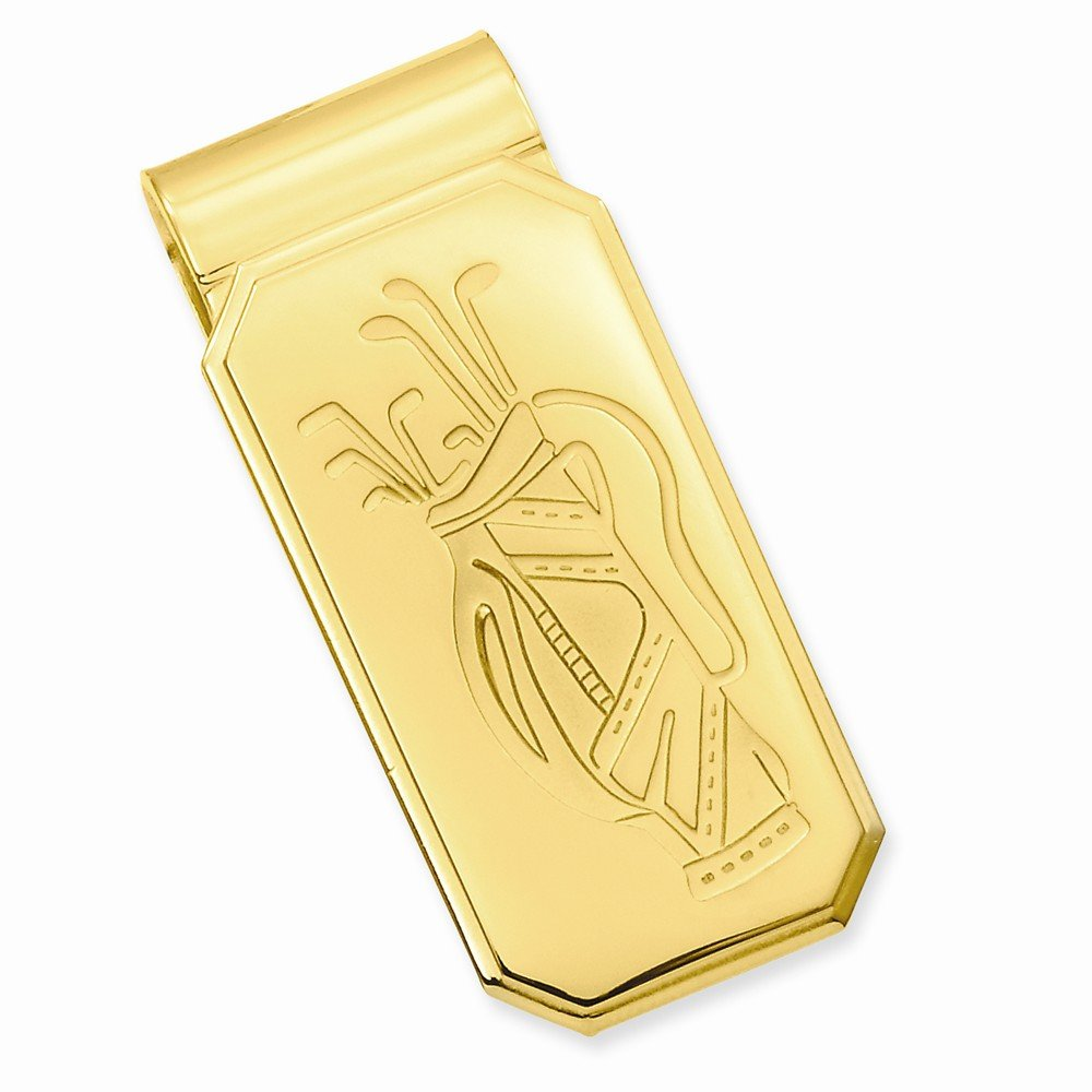Gold-plated Golf Bag Hinged Money Clip