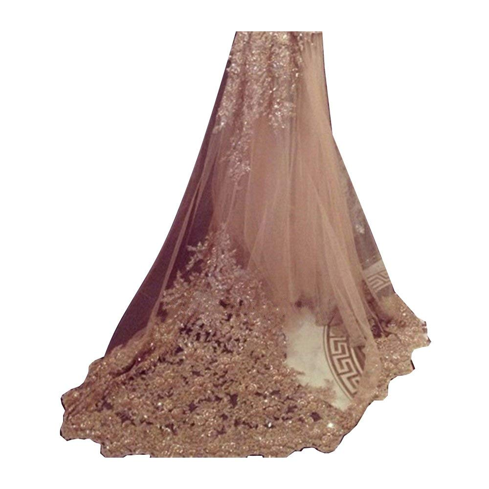 White Fenghuavip Cathedral Wedding Veils 1 Tier Sparkly Sequins Lace Appliques with Comb