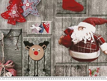 Tela decorativa (con motivos navideños, impresión digital, Gris de color rojo,: Amazon.es: Hogar
