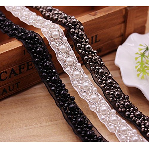 USJee 1 Yard Black Pearl Beaded Applique Crystal Patches for Wedding Sash Bridal Belt DIY Sewing Decor