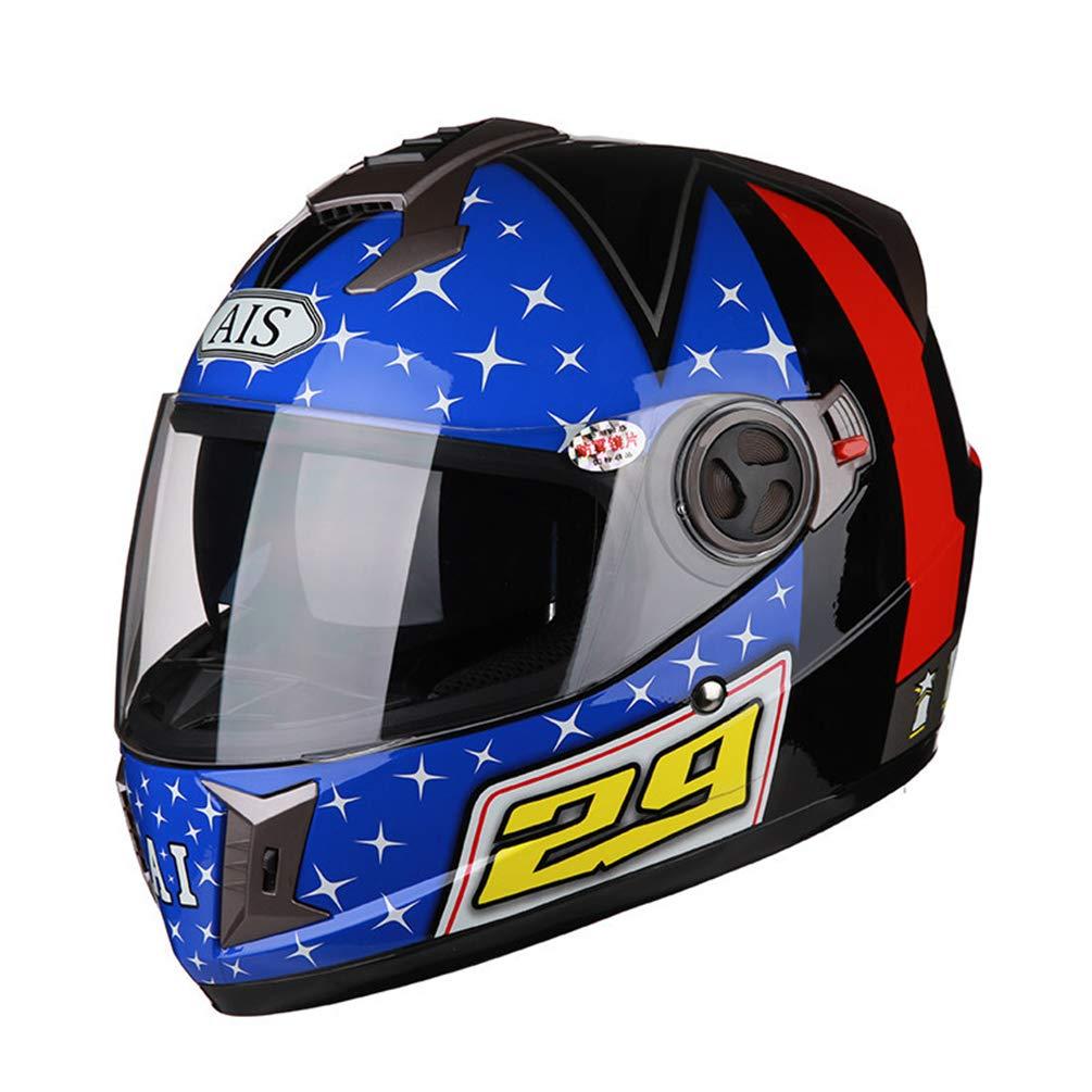 Casco moto da uomo a doppia lente da uomo, casco antiappannante trasparente per moto, quattro caschi di protezione motocross moto caschi da 53-61 cm Ali-111604