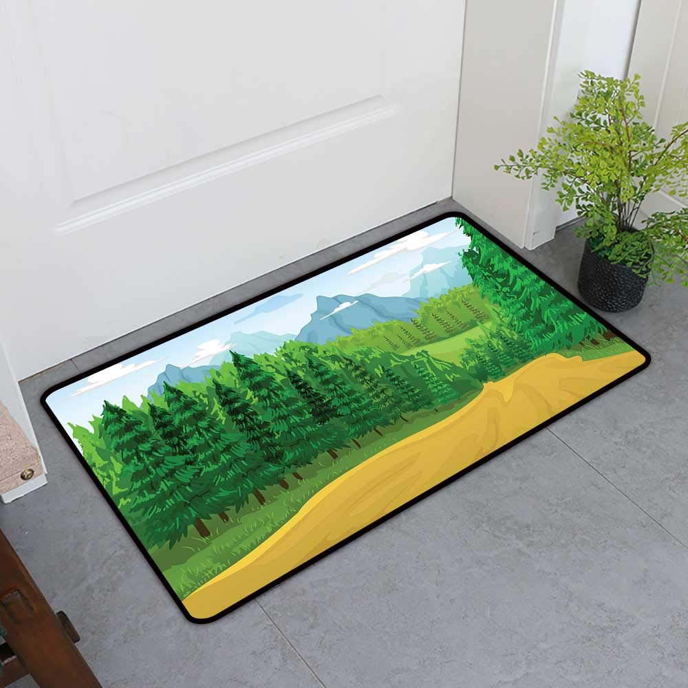 TableCovers&Home Welcome Front Mat, Forest Non-Slip Doormats for Bedroom, Green Landscape with Coniferous Trees High Mountains and Open Sky (Pale Blue Mustard Yellow, H36 x W60)