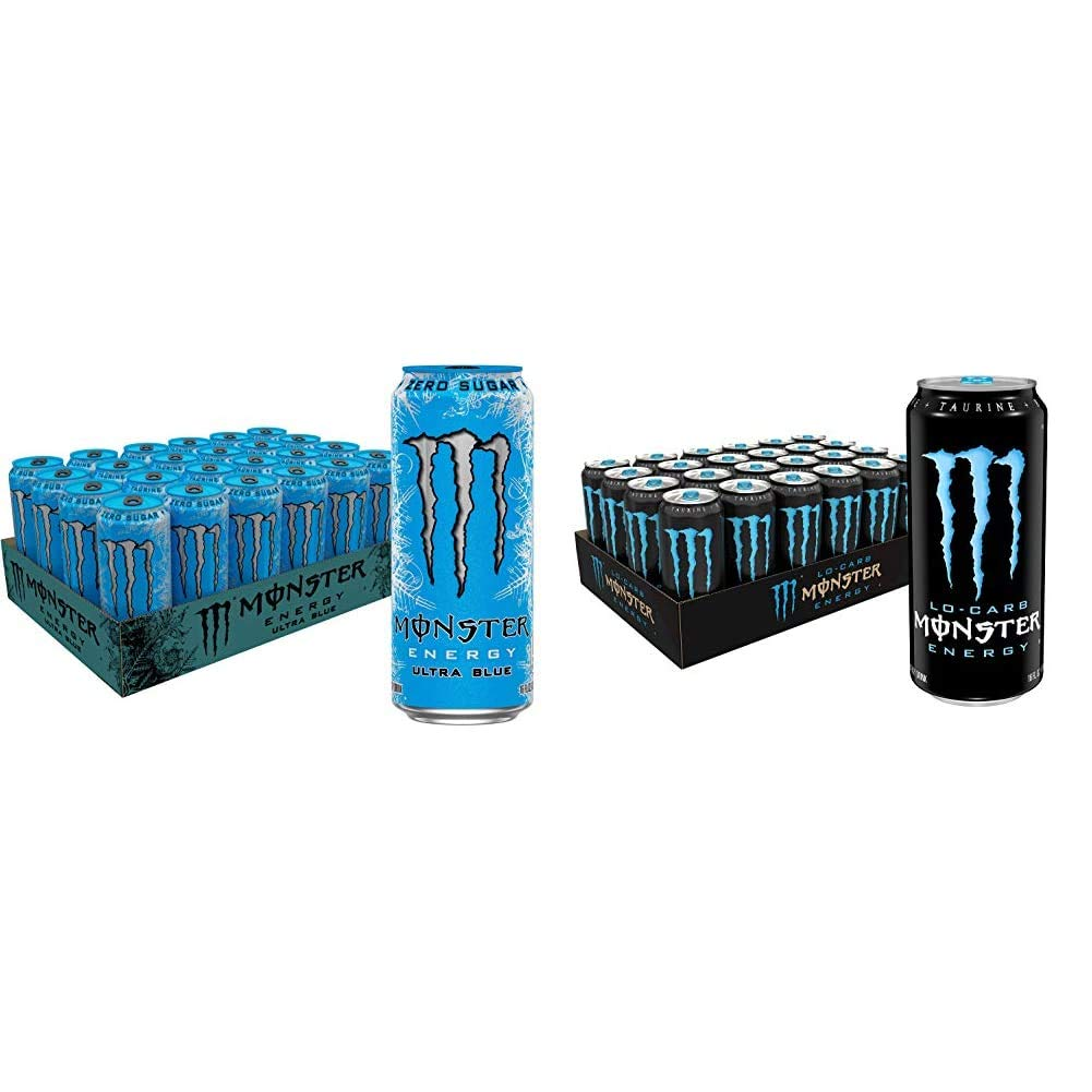 Monster Energy Ultra Blue, Sugar Free Energy Drink, 16 Ounce (Pack of 24) & Lo-Carb Monster, Low Carb Energy Drink, 16 Ounce (Pack of 24)