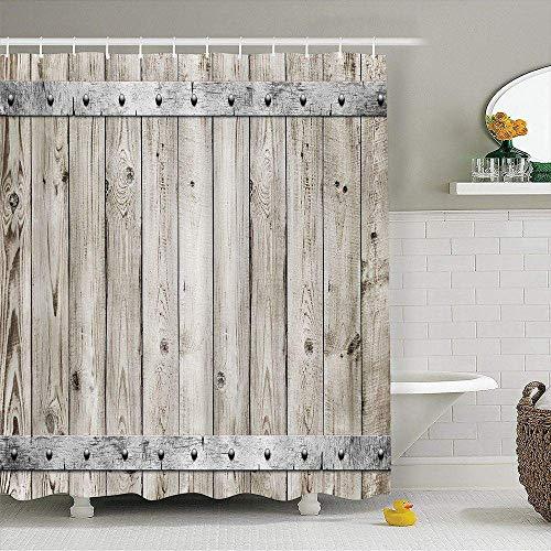Country Theme - KOTOM Rustic Decor Shower Curtain, Wood