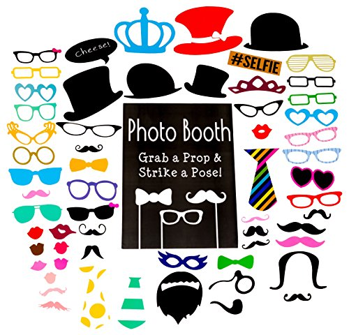 Photo Booth Props - Set with Chalkboard Style Sign With Stand | Perfect for Weddings, Birthdays, or any Party Celebration | 60 - Booth Cardboard Photo Frame