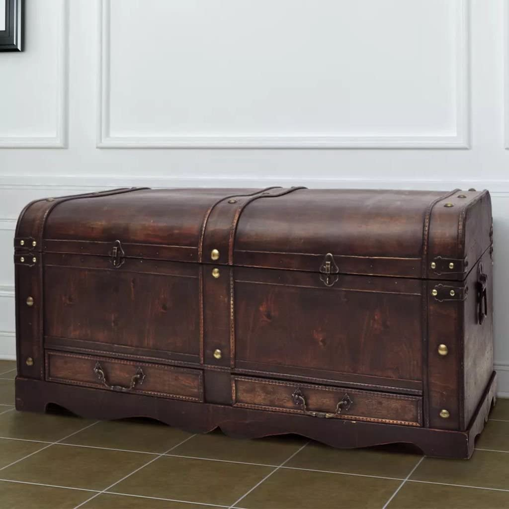 Brown Vintage Wood Storage Trunk, Wooden Treasure Chest with Drawers Jewelry Box Clothes Storage Organizer Decorative Foot Locker for Bedroom Living Room,35.5X 20X 16.5inch