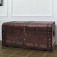 Baúl Cofre Grande de Madera marrón Mobiliario Armarios