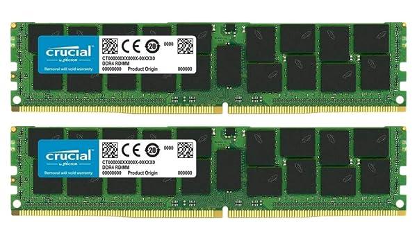 Crucial Bundle with 64GB (2 x 32GB) DDR4 PC4-21300 2666MHz RDIMM (2 x CT32G4RFD4266), Dual Ranked Registered ECC Memory (Tamaño: 64 Gb)