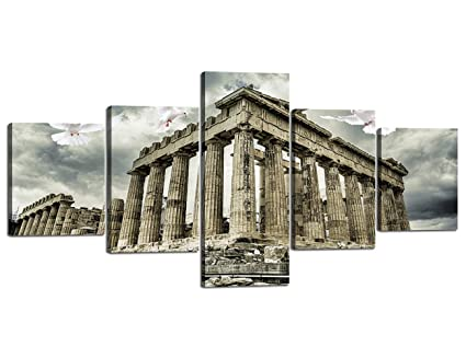 Yatsen Bridge Modern Painting On Canvas Parthenon Temple On The Acropolis Athens Greece Islamic Wall Art Home Decor Living Room Pictures 5 Piece Hd