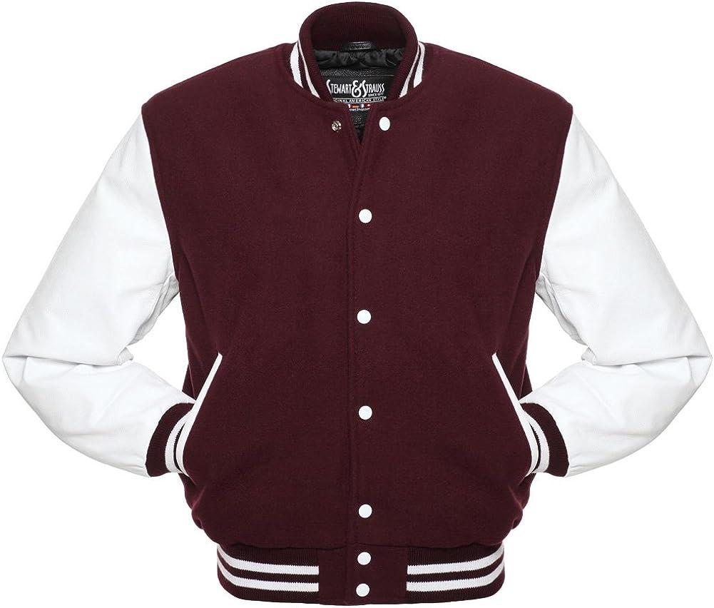 48 Team Colors Wool /& Leather XXS to 6XL Stewart /& Strauss Original Varsity Letterman Jackets