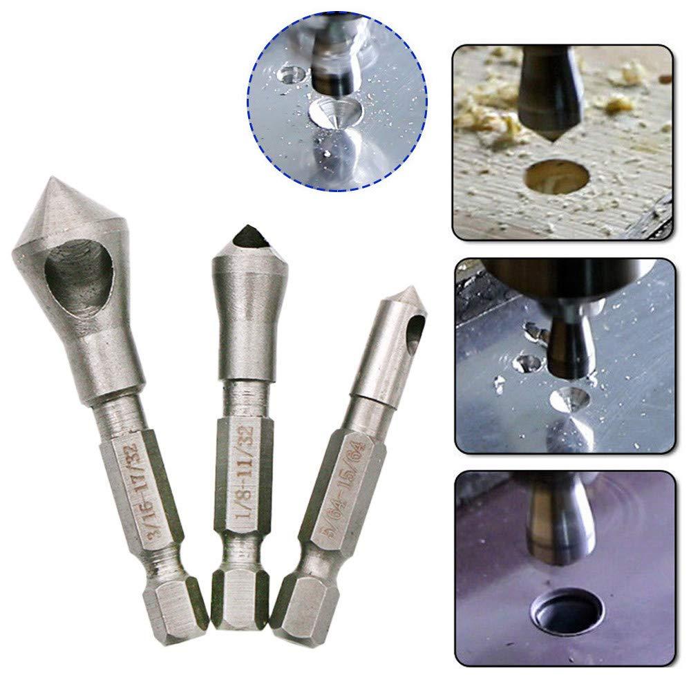 CapsA Chamfer End Mills 3Pcs 90 Degree Chamfer Metals Cutter Drill Bit Countersink Drill Bit Kit Accessories (Silver)