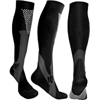 Compression Socks Men Women 20-30mmHg Knee High Athletic, Running, Basketball, Medical, Travel, S/M, L/XL, XXL, 3 Pack