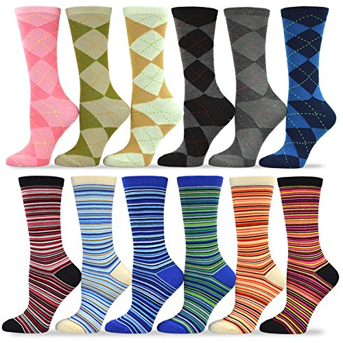 TeeHee Women's Value 12-Pack Fun Crew Socks (Argyle-Ministripe)