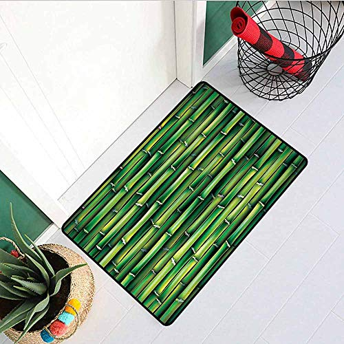 Gloria Johnson Bamboo Universal Door mat Image of Horizontal Asian Bamboo Tree Stems Zen Style Image of Asian Nature Inspired Door mat Floor Decoration W29.5 x L39.4 Inch Green