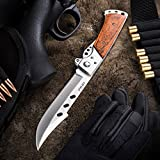 Grand Way Hunting Folding Knife with Wood Handle - Tactical...