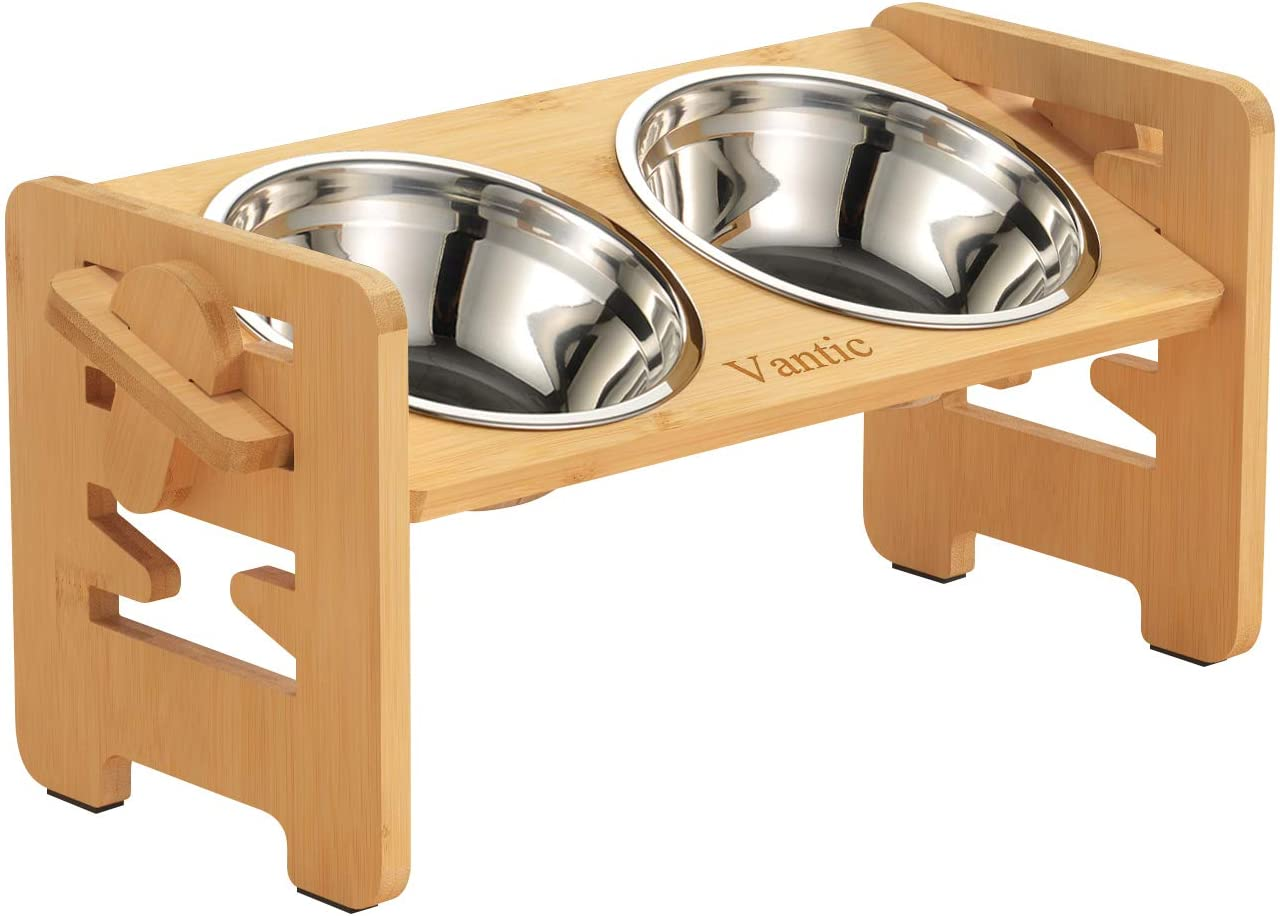 Vantic Elevated Dog Bowls-Adjustable Raised Dog Bowls with Stand for Small Size Dogs and Cats,Durable Bamboo Dog Feeder with 2 Stainless Steel Bowls and Non-Slip Feet…