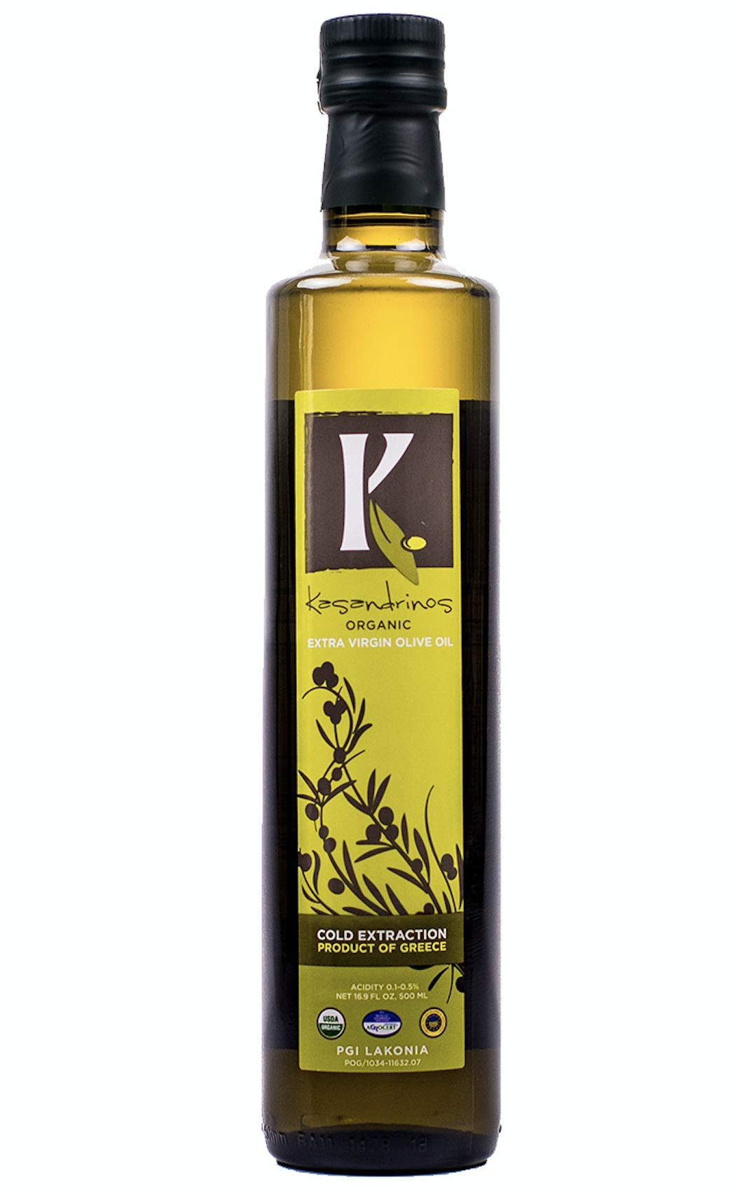 Kasandrinos 500 ML Bottle Organic Extra Virgin Greek Olive Oil - 2018/19 Harvest - NonGMO Keto Paleo, 100% Organic First Cold Pressed, Single Sourced from Greece Robust moisturizing by Kasandrinos