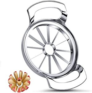 Apple Slicer with 12 Ultra-Sharp Blade,304 Stainless Steel Apple Corer,Rust Resistant Large Apple cutter,Wedger,Divider Up to 4 Inches Apples   Mesixpy