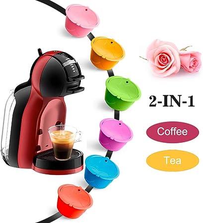 i Cafilas Paquete de 6 filtros de café reutilizables, coloridas cápsulas de café rellenables universales compatibles con máquina Dolce Gusto con 1 cuchara de plástico y 1 cepillo de limpieza: Amazon.es: Hogar