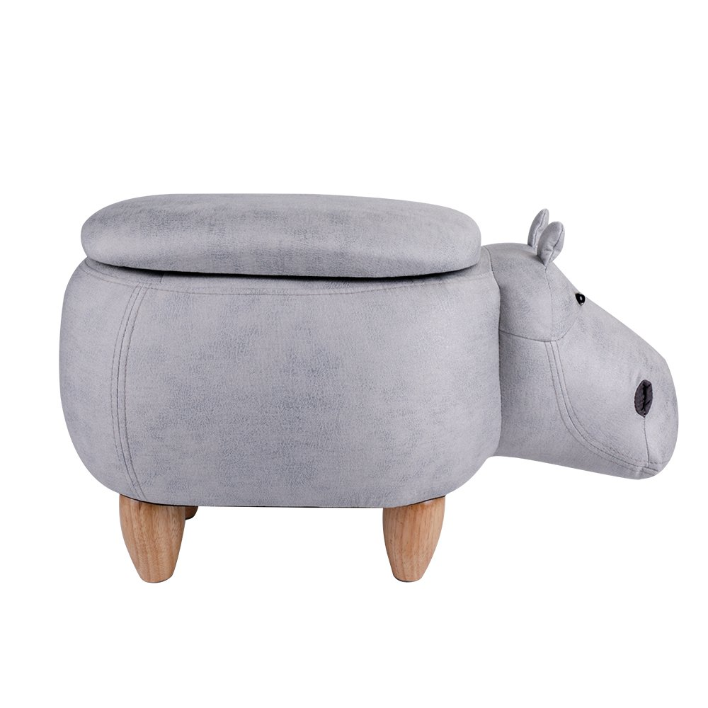Leopard Hippo Storage Ottoman Stools, Ride-on Animal Storage Footrest Upholstered Stool With Storage, Gray - Cute Hippo