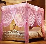 King Size Four Poster Bed Nattey 4 Corner Poster Princess Bedding Curtain Canopy Mosquito Netting Canopies (Queen, Pink)