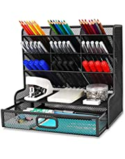 $24 » Wellerly Mesh Desk Organizer, Pencil Holder, Multi-Functional Desktop Organizer Collection - 9 Compartments with A Storage Rack & Drawer - Markers Pen Holder for Office School Home Supply - Black