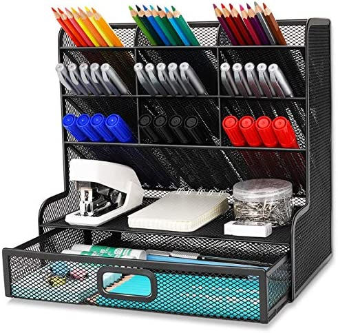 Wellerly Mesh Desk Organizer, Pencil Holder, Multi-Functional Desktop Organizer Collection – 9 Compartments with A Storage Rack & Drawer – Markers Pen Holder for Office School Home Supply – Black