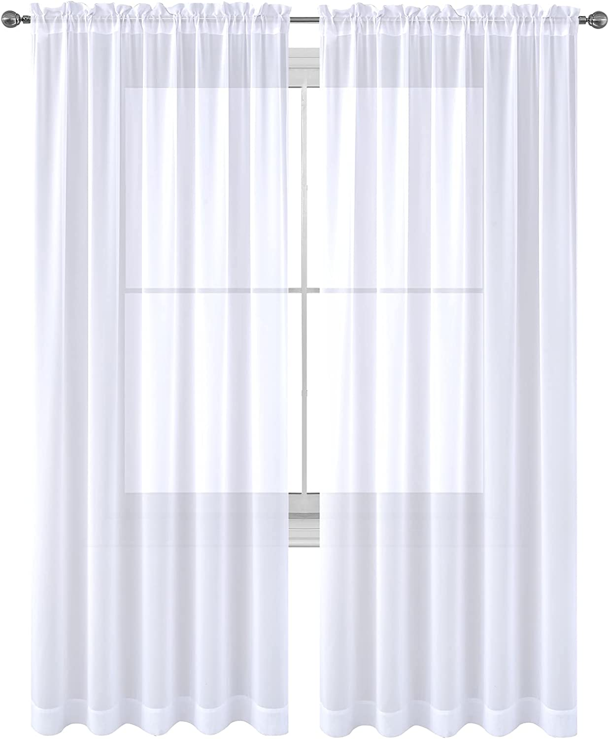White sheer curtains 84 inch length 2 panels set Window Treatment Panels Beautiful Rod Pocket Voile Elegance Curtains Drapes for Living Room, Bedroom, Kitchen Fully Stitched (White, 84