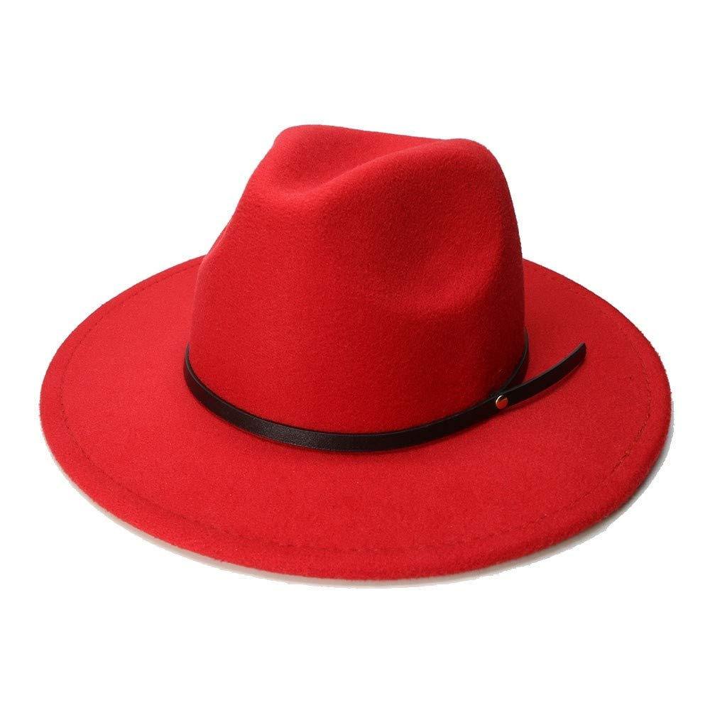 MUMUWU Mens Wool Pork Pie Boater Jazz Top Hat Felt Wide Brim Fedora Gambler Hat
