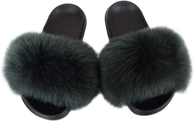 Faux Fur Slider Slipper Sandals for