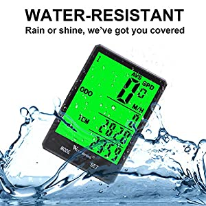 Wireless Bicycle Speedometer Waterproof Cycle Computer with LCD Green Backlight, Bike Odometer Cycling 15 Functions Speed compare record AVS SPD ODO MXS TM COLOCK etc, Bike Accessories for Riders