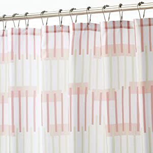 mDesign Water Repellent, Heavy Duty Flat Weave Fabric Shower Curtain, Liner - Weighted Bottom Hem for Bathroom Shower and Bathtub, 72 Inches x 72 Inches - Pink/Cream