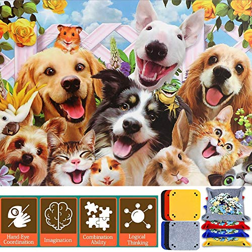 1000 Pieces Jigsaw Puzzle for Adults Kids Large, Difficult Puzzles for Friends Game Wall Decoration - Lovely Pets Dog Cat Hamster Rabbit Parrot, 27.5
