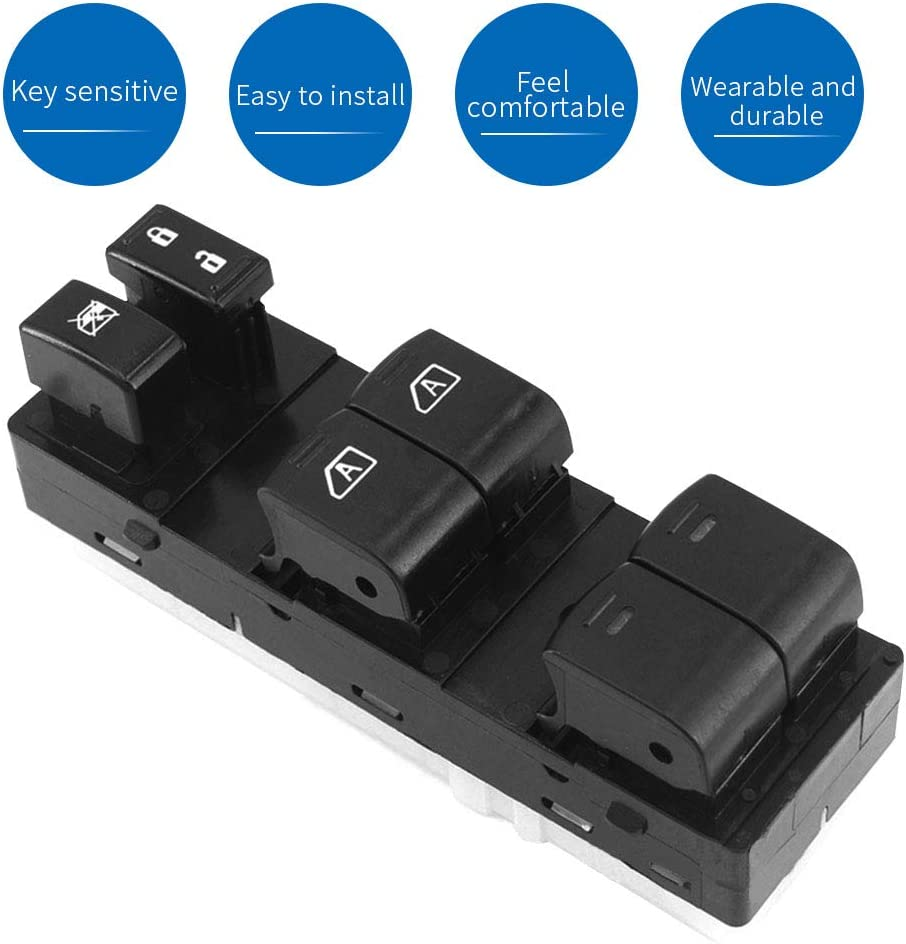 Left Front Driver Side Master Power Window Switch Compatible with 2007 2008 2009 2010 2011 2012 Nissan Altima Replaces OEM 25401-ZN50C 25401-ZN50B