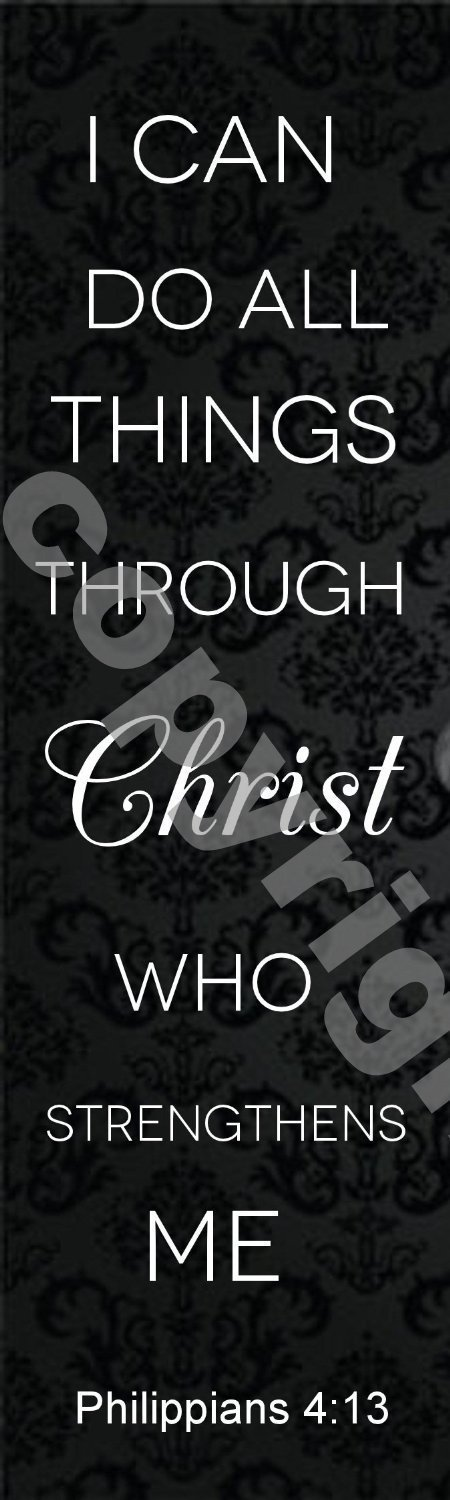 Jumbo CBT Black I Can Do All Things Through Christ Philippians 4:13 Bookmarks (1000 Pack) Bulk Wholesale 7''