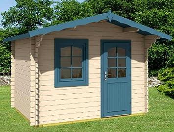 Jardín Casa Monika - B28 bloque madera casa Cobertizos 320 x 250 cm - 28 mm: Amazon.es: Jardín