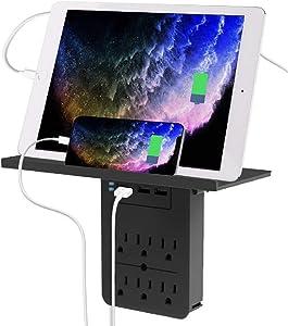 Aduro Surge Multiple Plug Outlet Splitter Wall Surge Protector With 6 Power Outlet Shelf & 3 Multi USB Port Multi Outlet Plug Black
