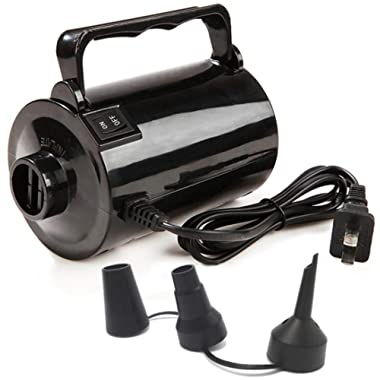 Gifts Sources Electric Air Pump for Inflatable Pool Toys - High Power Quick-Fill Air Mattress Inflator Deflator Pump for Pool Float Raft Airbed with 3 Nozzles, 110-120V AC, 1.6PSI, Air Flow 26CFM