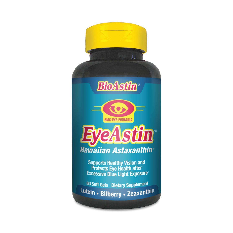 EyeAstin BioAstin Hawaiian Astaxanthin - 60 gelcaps – Supports Eye Health Naturally – A Super-Antioxidant Grown in Hawaii