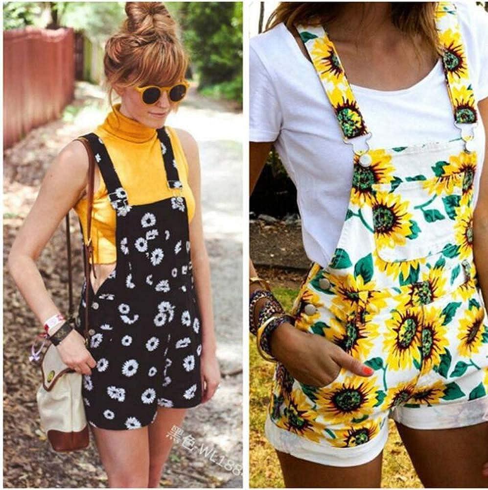 Hellomiko Womens Sunflower Printed Dungaree Overalls Shorts Jumpsuit Playsuit Mini Short Suspender
