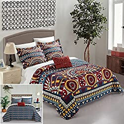 Chic Home 4 Piece Le Haver REVERSIBLE Large Scale global tribal african inspired printed Queen Quilt Set Red