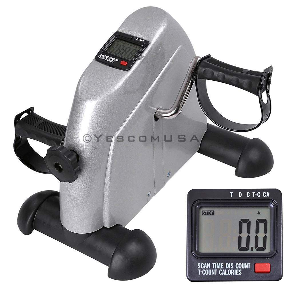 Silver Pedal Exerciser Portable Arms Legs Mini Bicycle Bike Exercise Machine Gym Fitness Adjustable Resistance w/LCD Display