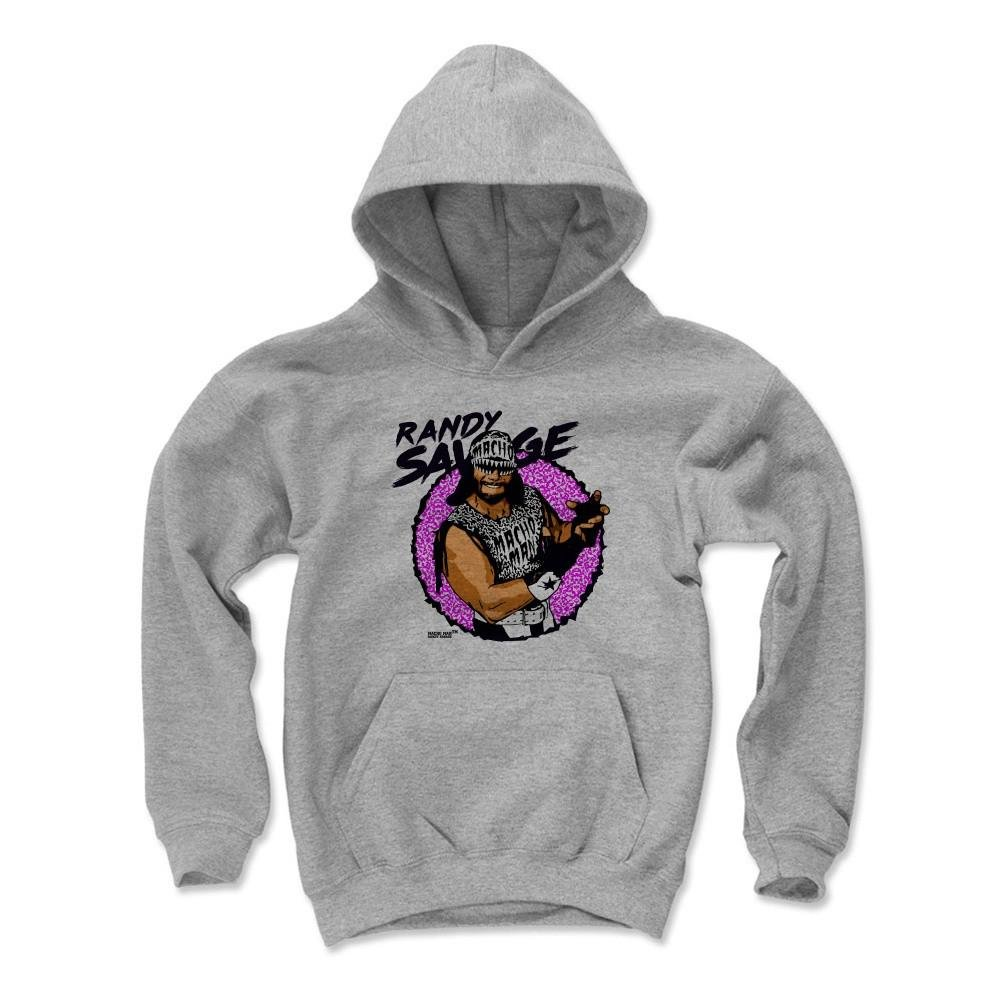 500 Level Macho Man Randy Savage Kids Youth Hoodie S Gray - Randy Savage Macho K - Officially Licensed by Pro Wrestling Tees by 500 Level