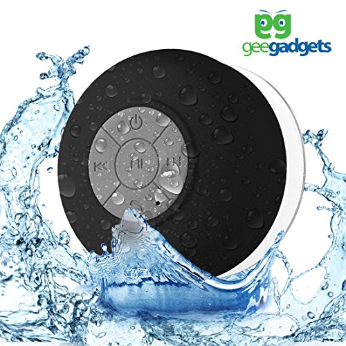 Portable Bluetooth Shower Speaker with Suction Cup - Waterproof, Built in Mic, Universal Phone & Tablet Compatibility - Black - by Gee Gadgets by geegadgets