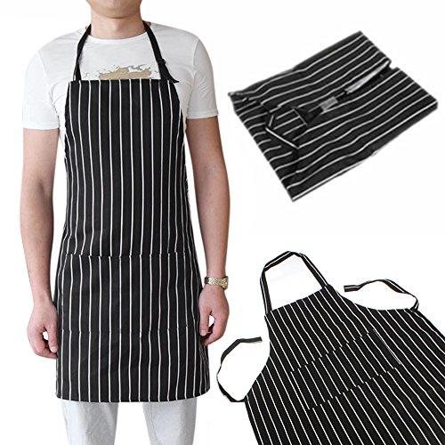 Lastnight Kitchen Adult Black Adjustable Stripe Bib Apron With 2 Pockets Chef Waiter Cook
