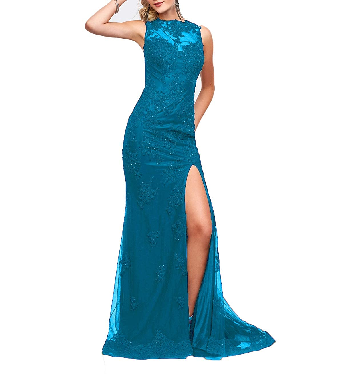 bluee Wanshaqin Cap Sleeveless Lace Mermaid Prom Formal Dresses Evening Cocktail Dress Bridesmaid Gowns for Events Party
