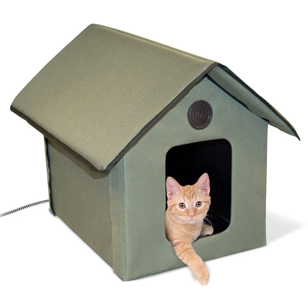 K&H Manufacturing Outdoor Kitty House (Heated & Unheated) Olive Heated 2